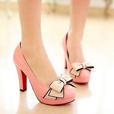 sapatas das mulheres rodada toe salto saltos stiletto com sapatos bowknot mais cores disponíveis - CAD $ 48.58