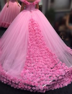 Floral Quinceanera Dresses Ball Gowns Pink Off the Shoulder Sweet 16 Dresses for Girls Masquerade Prom Dress Cathedral Train Custom Made - Dress Models Quince Dresses, Pink Prom Dresses, Sweet 16 Dresses, Quinceanera Dresses, Pink Dress, Girls Dresses, Dress Prom, Long Dresses, Pink Tulle