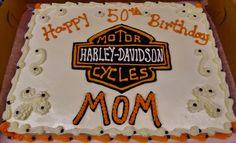 Harley Davidson logo cake design in 100% buttercream sheet cake~ 1/2 sheet = 12x18 = inches. serves up to #48.