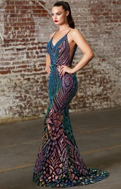 Prom 267 Black Iridescent Sequin Damask Mermaid Gown with Illusion Sides front view. Affordable Prom Dresses, Plus Size Prom Dresses, Black Prom Dresses, Dance Dresses, Drag Dresses, Sexy Dresses, Printed Gowns, Cinderella Dresses, Vogue