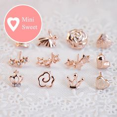 """Adorable little mini rose gold plated earrings !  The new """"Mini"""" post earrings. These cute stud earrings are suitable for everyday wear or gift for your best friend, sister or for you.  They measure at about 10mm in length."""