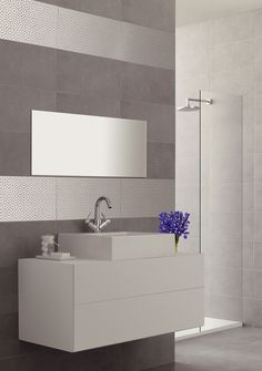 Great value light grey concrete effect wall tile with hexagon decor. Boutique tiles at cheap internet prices