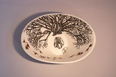 "Eunice Botes Ceramics - White Oval porcelain bowl with black sqrafftio - ""rain water puddle after  the rain"""