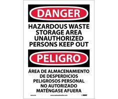 Danger, HAZARDOUS WASTE STORAGE AREA KEEP OUT Bilingual, 14X10, PS Vinyl