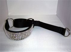 CHOOSE YOUR COLORS! 1 1/2 Wide Custom Martingale Dog Collar. Nickle plated buckle and D-ring. Choose nylon and crystal color choices. 7 rows of BLING on this beautiful large dog collar. http://www.dogcollarfancy.com/Custom-Martingale-Dog-Collar-p/custslmart.htm
