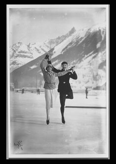 1924: Chamonix, France hosts the first Winter Olympic Games.  American Charles Jewtraw became the first Winter Games champion by winning the first event, the 500m speed skating.  Pictured: Figure skating bronze medallists Andrée Joly and Pierre Brunet.   Photo: Olympic.org