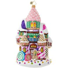 Christopher Radko Candy Castle Christmas Ornament ($66) ❤ liked on Polyvore featuring home, home decor, holiday decorations, no color, candy christmas tree ornaments, christopher radko, candy christmas ornaments, christopher radko christmas ornaments and christopher radko christmas tree ornaments