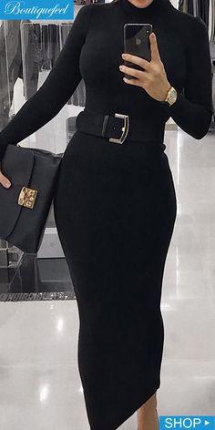 Chic Me Black Dress - High Neck Long Sleeve Slinky Midi Dress Source by - Black Dress Outfits, Classy Outfits, Cool Outfits, Casual Outfits, Look Fashion, Hijab Fashion, Fashion Dresses, Mode Ootd, Elegant Dresses For Women