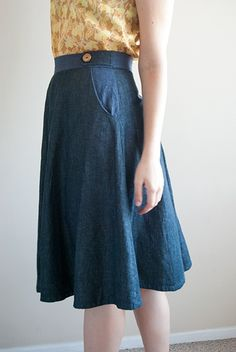 My first Hollyburn skirt from Sewaholic patterns & Tiny Pocket Tank from Grainline Patterns!