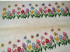 This Pin was discovered by Şen Butterfly Cross Stitch, Cross Stitch Rose, Cross Stitch Borders, Cross Stitch Flowers, Cross Stitching, Cross Stitch Patterns, Towel Embroidery, Beaded Embroidery, Cross Stitch Embroidery