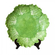 """Signed Dodie Thayer Charger - """"Lettuce-Ware"""" : On Antique Row - West Palm Beach - Florida Ceramic Tableware, Glass Ceramic, Vintage Pottery, Vintage Ceramic, Trees To Plant, Plant Leaves, New Orleans Garden District, Leaf Projects, West Palm Beach Florida"""