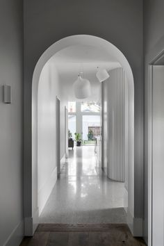 Original entry hall that looks straight down into the new light-filled part of the home and into the backyard. Architecture Details, Interior Architecture, Cheap Cottages, Timber Slats, Timber Boards, Melbourne Suburbs, Monochromatic Color Scheme, Entry Hall, Entrance
