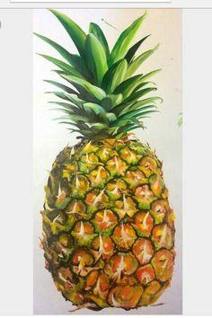 Pineapple Painting Pineapple Painting, Apple Pen, Art Lessons For Kids, Tropical Flowers, My Flower, Food Art, Still Life, Vines, Decoupage