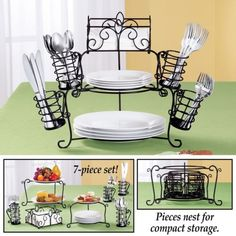 Buffet Organizer- 7 pc from Collections Etc. Kitchen Utensil Holder, Kitchen Utensils, Kitchen Gadgets, Kitchen Organization, Kitchen Storage, Home Decor Kitchen, Kitchen Design, Kitchen Ideas, Layout Design
