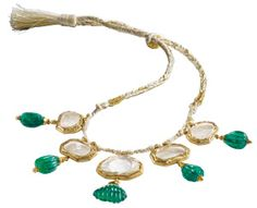 Mughal Mirror Diamond Necklace - Created in the early 17th-century, comprises a center diamond weighing approximately 28 carats & four other stones, each weighing approximately 15 to 20 carats. Each diamond is set within a gold bezel that follows the irregular shape of the stone, & each suspends a carved Colombian emerald drop. The drops are believed to have been added some 200 years later. The center diamond is the largest table cut known to have survived. [Offered privately at 20,000,000…