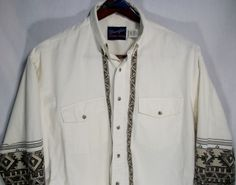 Mens Wrangler X Long tails size XL long sleeve rodeo southwest 100% cotton #Wrangler #ButtonFront