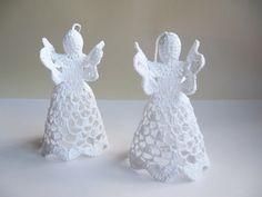 Angeli di Natale  Set di 2 angolo uncinetto di stoykasart su Etsy