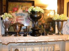 I haven't collected trophies but this display is so beautiful ! (from Cheryl's Cottage Home)
