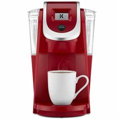 Keurig K250 2.0 Compact Brewer, Red - Coffee + Tea > Coffee Makers ($130) ❤ liked on Polyvore featuring home, kitchen & dining, small appliances, coffee tea maker, single serving coffee machine, single serve brewers, red coffee maker and compact coffee maker