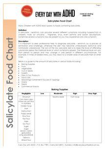 Salicylate Food Chart - Every Day with ADHD