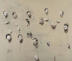 Michaël Borremans (B. 1963)  Remote Heads  signed, titled, dated and inscribed 'MICHAËL BORREMANS REMOTE HEADS 1999-2000 (PRESENT IN A MIXTURE OF MATTER AND SPACE) All heads are both matter and space, ever yours, Carl 05/200' (on the reverse) oil on canvas  47¼ x 55 1⁄8in. (120 x 140cm.)  Painted in 1999-2000