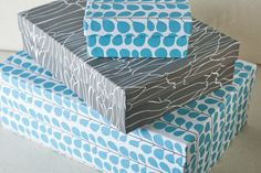 Love this teal pattern—high-quality paper-wrapped teal & gray 'Circa' gift boxes—to use one as a gift box would be like giving two gifts in one—so pretty❣  I would use to organize my craft room or office❣ (So many beautiful papered-box designs❣)