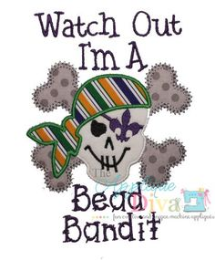Mardi Gras Bead Bandit  Embroidery Design by theappliquediva