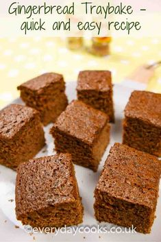 Gingerbread Traybake is quick and easy to make for tea. Cake Recipes Uk, Tray Bake Recipes, Easy Cookie Recipes, Baking Recipes, Dessert Recipes, Desserts, Picnic Recipes, Picnic Foods, Picnic Ideas