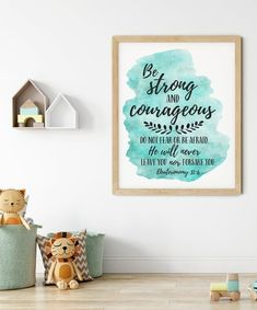 Be Strong And Courageous, Joshua 1:9, Bible Verse Printable Wall Art by LilaPrints. Christian Gifts Nursery Decor, Bible Quotes Scripture Print Kids Room #Biblequotes #art #kitchenwalldecor #wallpainting