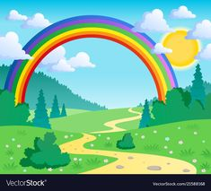 Illustration about Spring theme landscape 2 - vector illustration. Illustration of landscape, graphic, scene - 23345710 Kids Background, Background Design Vector, Rainbow Background, Cartoon Background, Playroom Mural, Wall Mural, Spring Landscape, Art Drawings For Kids, Rainbow Wallpaper