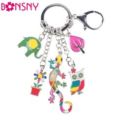 Cheap chain butterfly, Buy Quality jewelry findings chain directly from China chain cover Suppliers: Bonsny 2016 Enamel Alloy Gecko Lizard Owl Elephant Alloy Key Chain For Women Girl Bag Keychain Charm Pendant Jewe