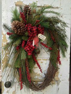 Large Christmas Wreath- Rustic Winter Wreath, Primitive Christmas Wreath, Cardinal Wreath by FlowerPowerOhio on Etsy christmashome Large Christmas Wreath, Country Christmas, Holiday Wreaths, Holiday Crafts, Christmas Holidays, Christmas Decorations, Winter Wreaths, Primitive Christmas Decorating, Cowboy Christmas