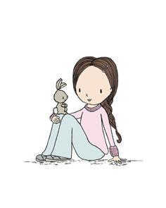 Girl Nursery Art -  Girl Meets Bunny -  by Sweet Melody Designs