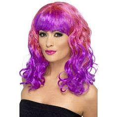 Divatastic Wig, Curly, Pink and Purple, With Purple Fringe Group Fancy Dress, Boomtown Festival, Mermaid Face Paint, Pirate Fancy Dress, Pirate Face, Secret Garden Parties, Steampunk Costume, Violet, Festival Fashion