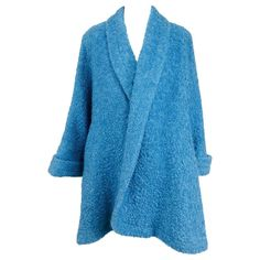 Blue mohair boucle swing coat with poodle lining, 1950s | From a collection of rare vintage coats and outerwear at https://www.1stdibs.com/fashion/clothing/coats-outerwear/