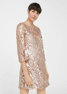 Sukienka cekinowy haft - Sukienki dla Kobieta   OUTLET Polska