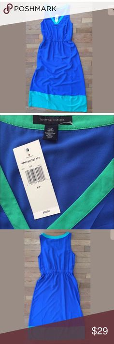 Tommy Hilfiger Maxi Dress S Blue Green Vneck NWT Tommy Hilfiger Maxi Dress Womens Size S Blue Green Vneck NWT New with tags, no damage or stains  Chest 17 inches wide 39 inches long skirt 54 inches total length  Comes from smoke/pet free home. Original price $88 FAST shipping! Tommy Hilfiger Dresses Maxi