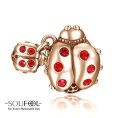 Soufeel Rose Gold Ladybug Charm 925 Sterling Silver, for every memorable day. The charm fits all bracelets.