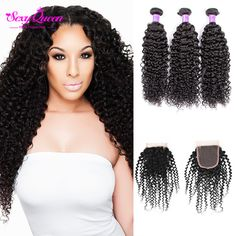 Hair Weft Closure ( Bang) Grade 8A Malaysian Virgin Hair With Closure Afro Kinky Curly Hair 3 4 Bundles With Closure Human Hair Weave Bundles With Closure *** Find similar products by clicking the VISIT button