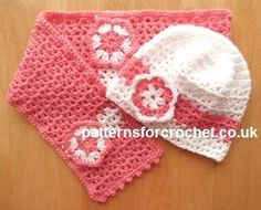 Free crochet pattern girls hat & scarf set usa