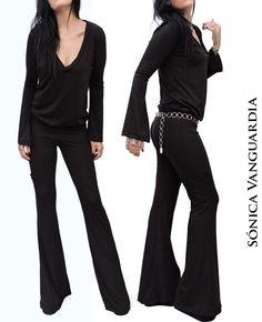 Enterito Mono  Black Jumpsuit Oxford Flares Negro Sónica Vanguardia