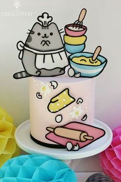 This was a total labour of love cake! I have been DYING to create another Pusheen themed cake since I made the last one for my sisters birthday! Pretty Cakes, Cute Cakes, Fondant Cakes, Cupcake Cakes, Torta Candy, Pusheen Cakes, Anime Cake, Japanese Cake, Cake Wrecks
