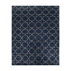 Navy & Silver Silk Westley Tibetan Carpet