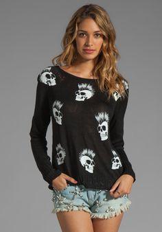 Lauren Moshi Helena Mini Skull Sweater in Black