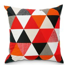 Orange, Navy, red. Geo Cushion, by Citta. Places and Graces Cushion Collection.