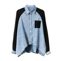 Asymmetric Two-tone Chiffon-seamed Denim Shirt and other apparel, accessories and trends. Browse and shop 8 related looks.