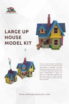 """This is our large 3D wooden model based on the movie UP. This model will NOT come painted or assembled. The model will be carved out with a laser machine on a 1/8"""" sheet of Baltic Birch plywood. The house is approximately 19"""" wide x 16"""" deep x 21.5"""" high when assembled. #wood #modelhouse #americanhouse #gift #decor #bird'swoodshack Disney Up House, Laser Machine, Baltic Birch Plywood, Model Homes, Custom Wood, Yellow Flowers, This Is Us, Balloons, Thing 1"""
