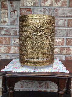 Gorgeous Metal Vintage Filigree Hollywood regency Gold round trash can Cover with Bow / Floral detail  on Etsy, $21.95
