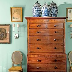 The Art of Living Small: Tall Bedroom Chest with Ginger Jars