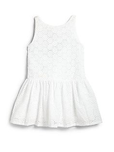 Lili Gaufrette Toddler's & Little Girl's Eyelet Dress  Would be great to use as the kids get older as a peplum style top with some leggings...